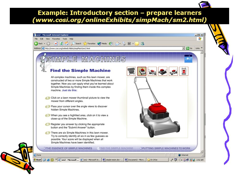 Example: Introductory section – prepare learners