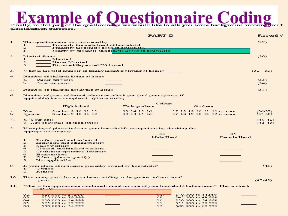 example of questionare