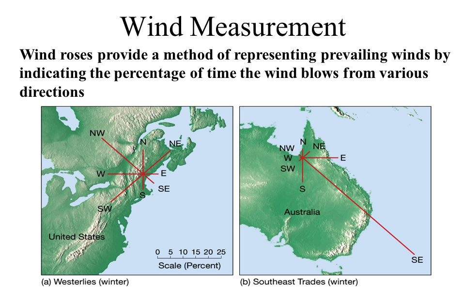 Wind Measurement Wind roses provide a method of representing prevailing winds by. indicating the percentage of time the wind blows from various.