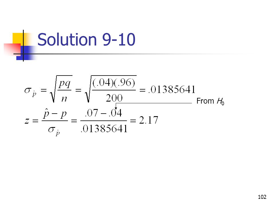 Solution 9-10 From H0