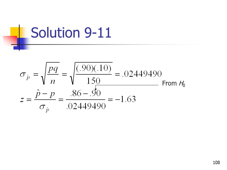 Solution 9-11 From H0