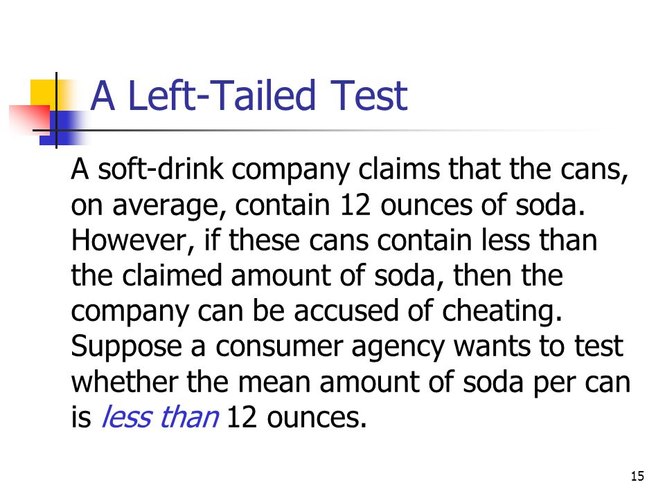 A Left-Tailed Test