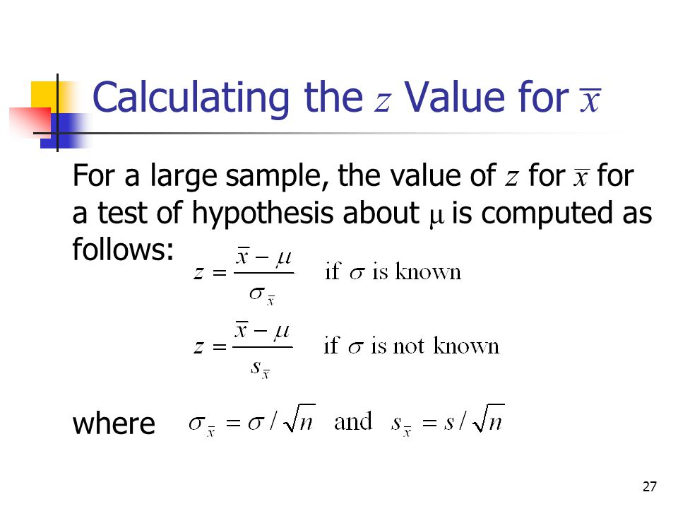 Calculating the z Value for x