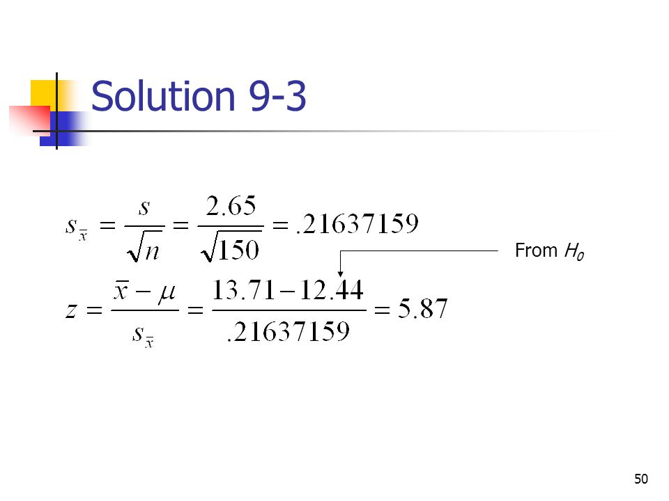 Solution 9-3 From H0