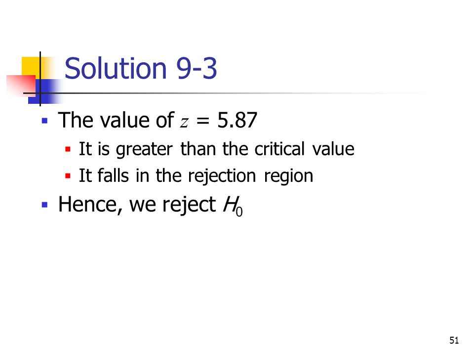 Solution 9-3 The value of z = 5.87 Hence, we reject H0