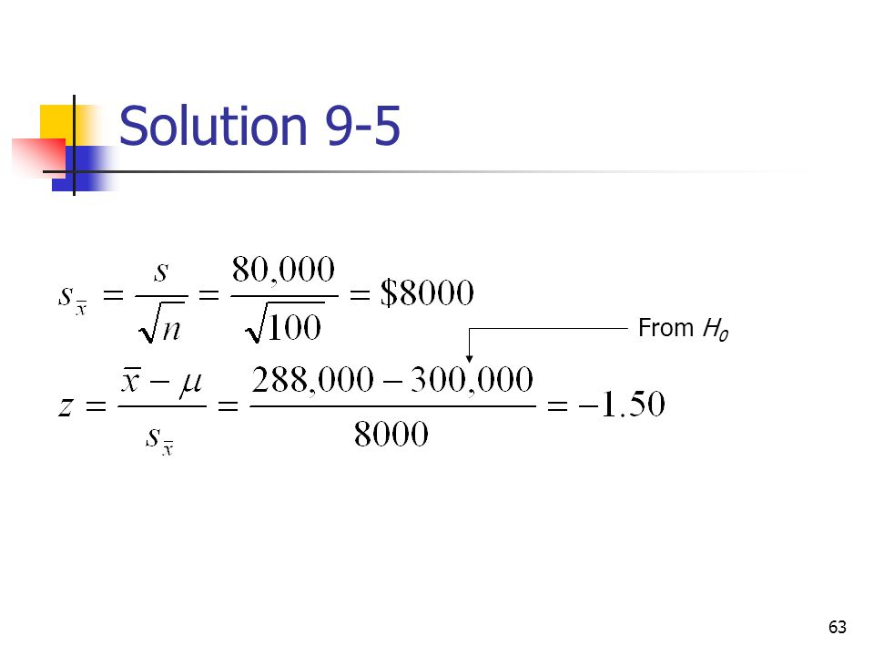 Solution 9-5 From H0