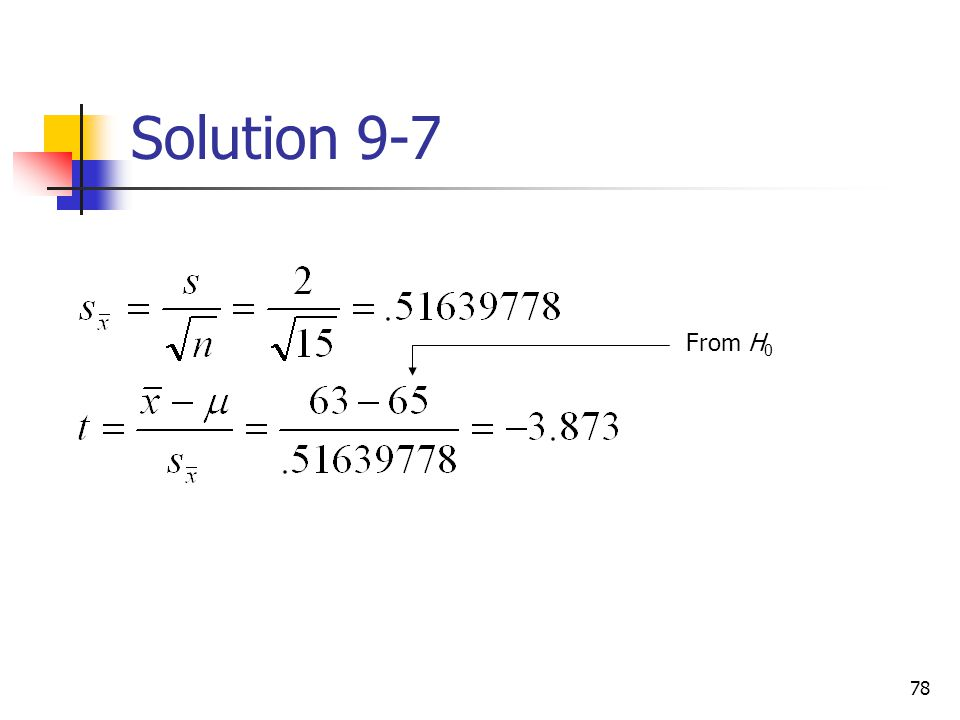 Solution 9-7 From H0