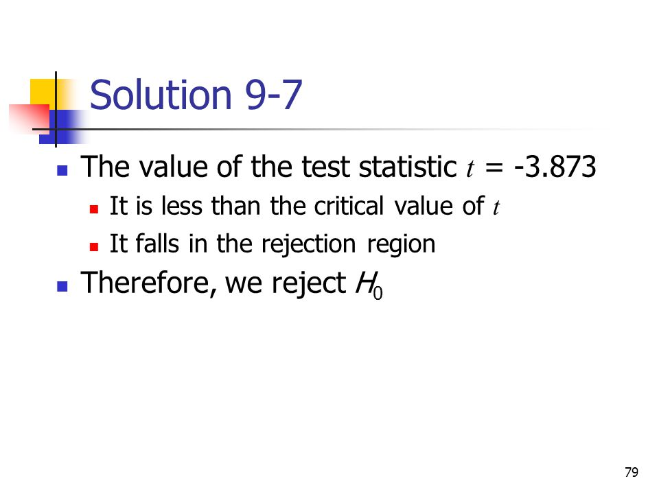 Solution 9-7 The value of the test statistic t =