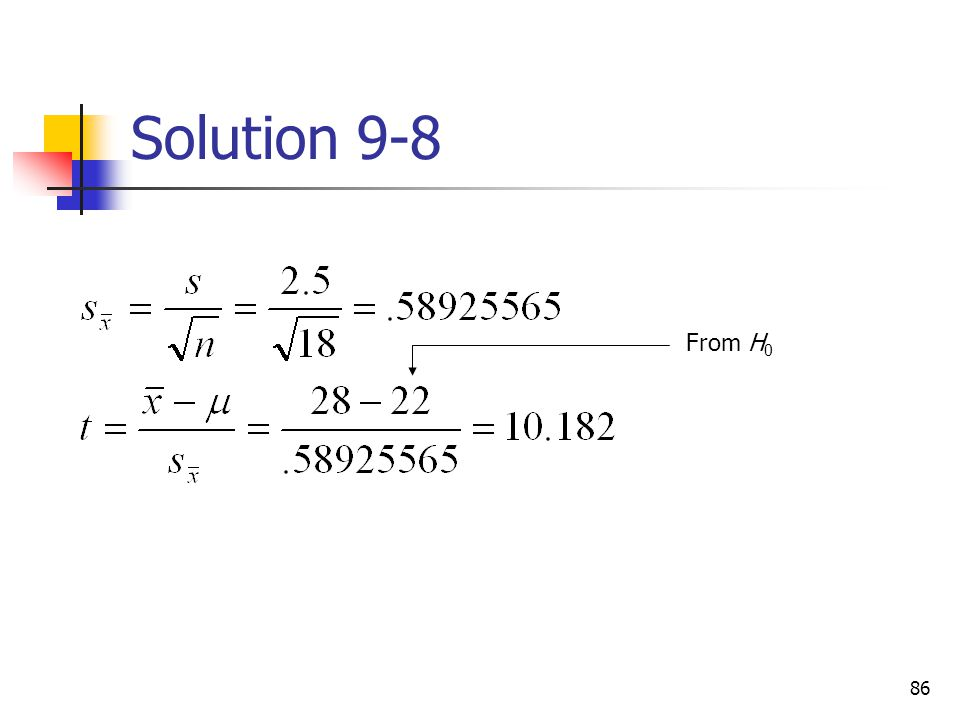 Solution 9-8 From H0