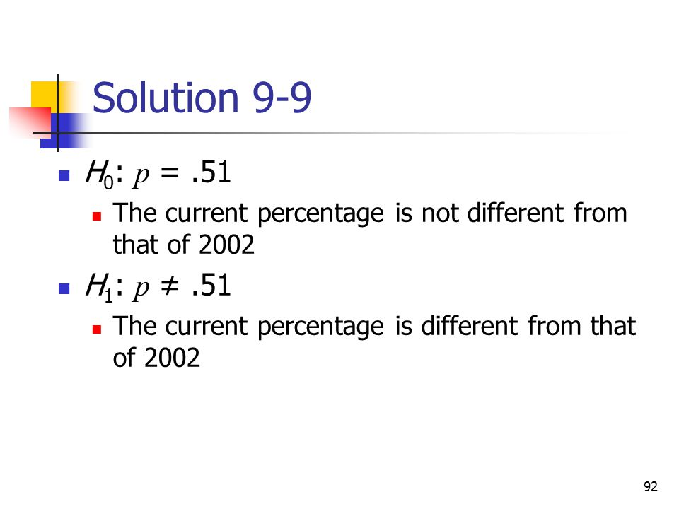 Solution 9-9 H0: p = .51. The current percentage is not different from that of H1: p ≠ .51.