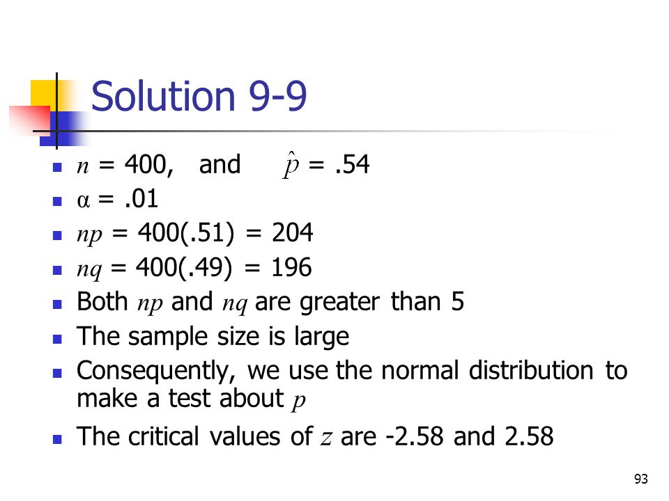 Solution 9-9 n = 400, and = .54 α = .01 np = 400(.51) = 204