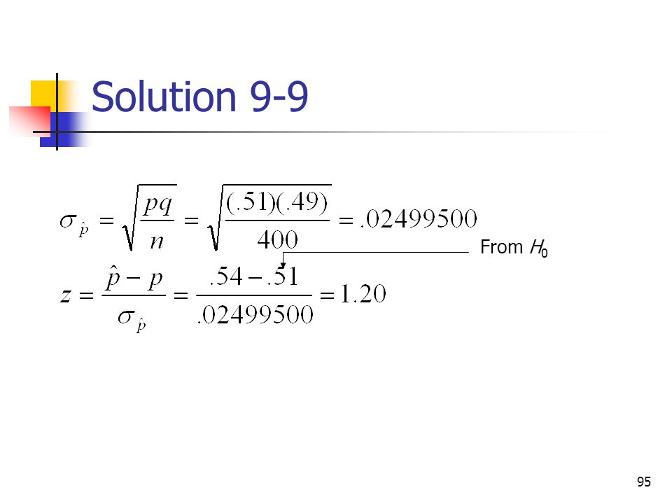 Solution 9-9 From H0