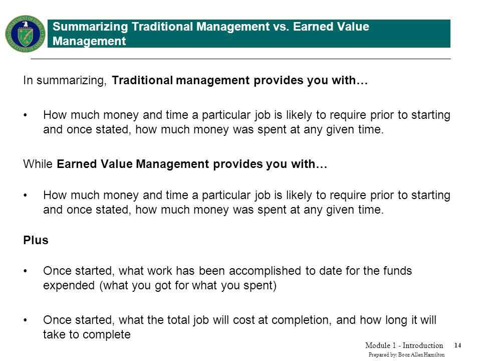 Earned Value in a Management Environment