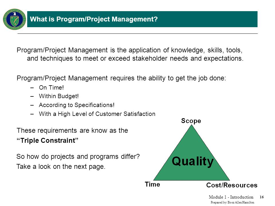What is a Project vs. Program