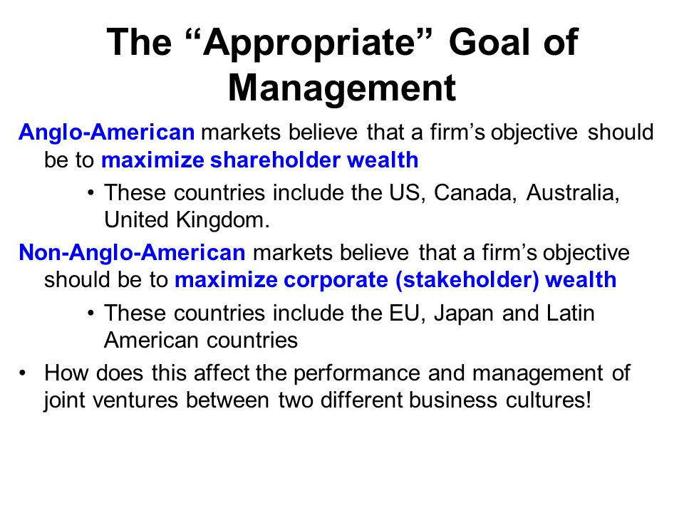 the objective of shareholder wealth maximisation Discuss how company shareholders can encourage their managers to act in a way which is consistent with the objective of shareholder wealth maximisation expert answer 100 % (1 rating) shareholder wealth increases through payment of dividends and through appreciation of share prices since.
