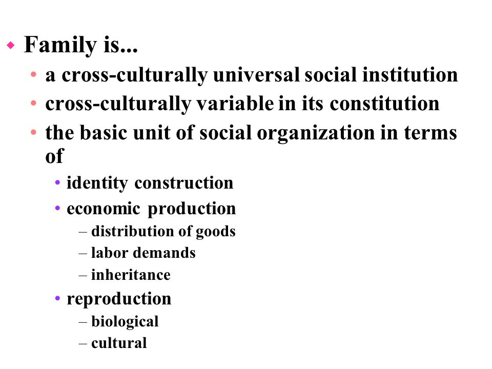 family social institution The institution of family has three important functions: to provide for the rearing of children to provide a sense of identity or belonging among its members.
