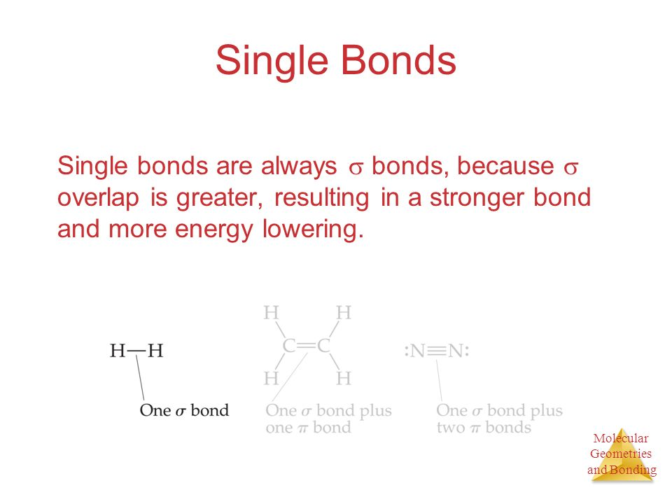 Single Bonds Single bonds are always  bonds, because  overlap is greater, resulting in a stronger bond and more energy lowering.