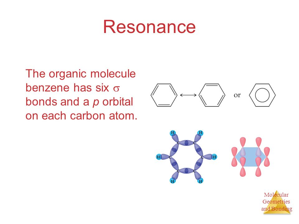 Resonance The organic molecule benzene has six  bonds and a p orbital on each carbon atom.