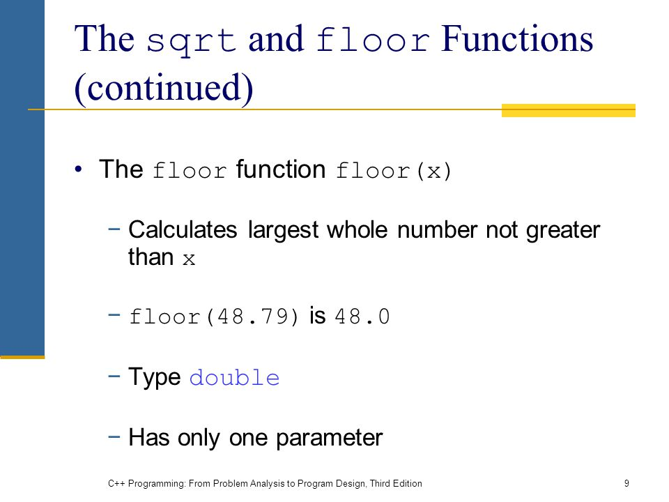 Chapter 6 user defined functions i ppt download for Integer floor function