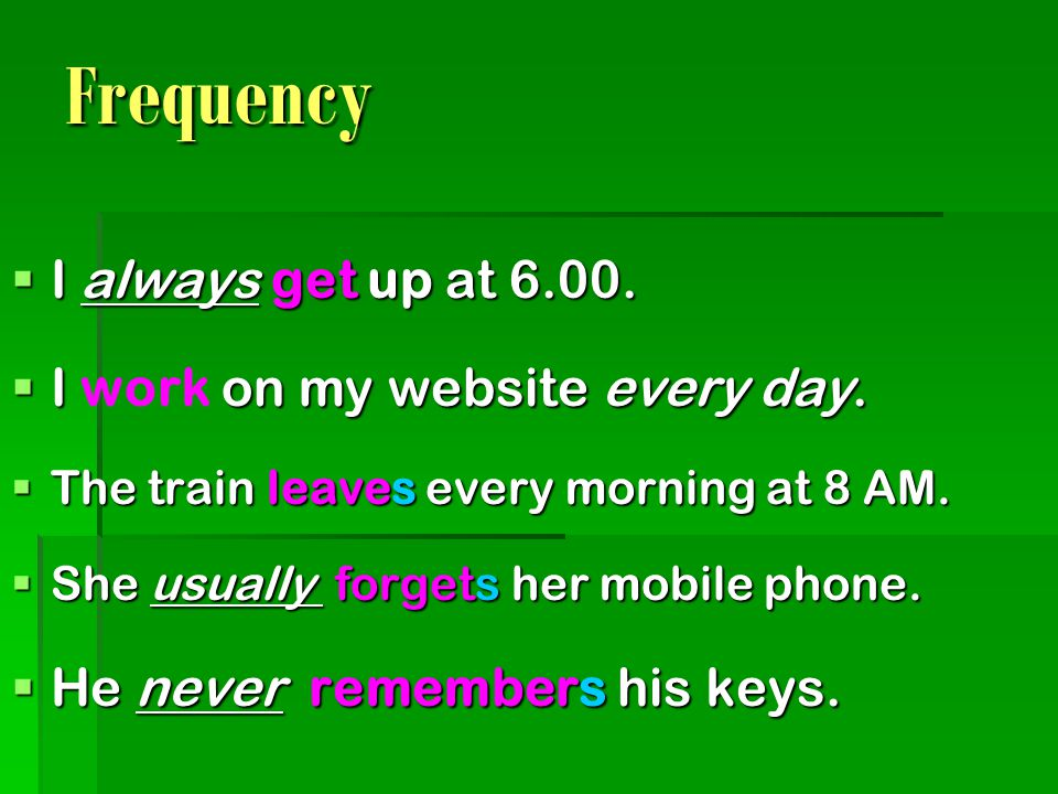 Frequency I always get up at I work on my website every day.