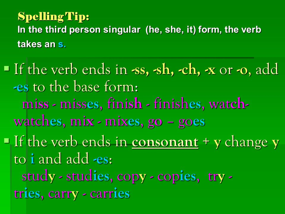 Spelling Tip: In the third person singular (he, she, it) form, the verb takes an s.