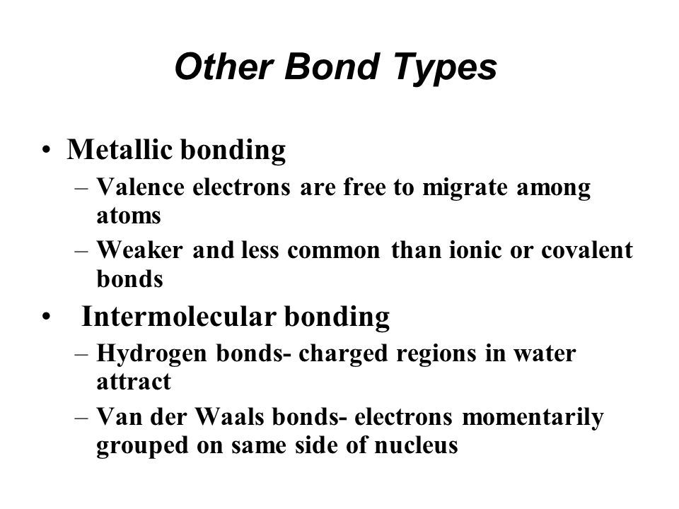 Other Bond Types Metallic bonding Intermolecular bonding
