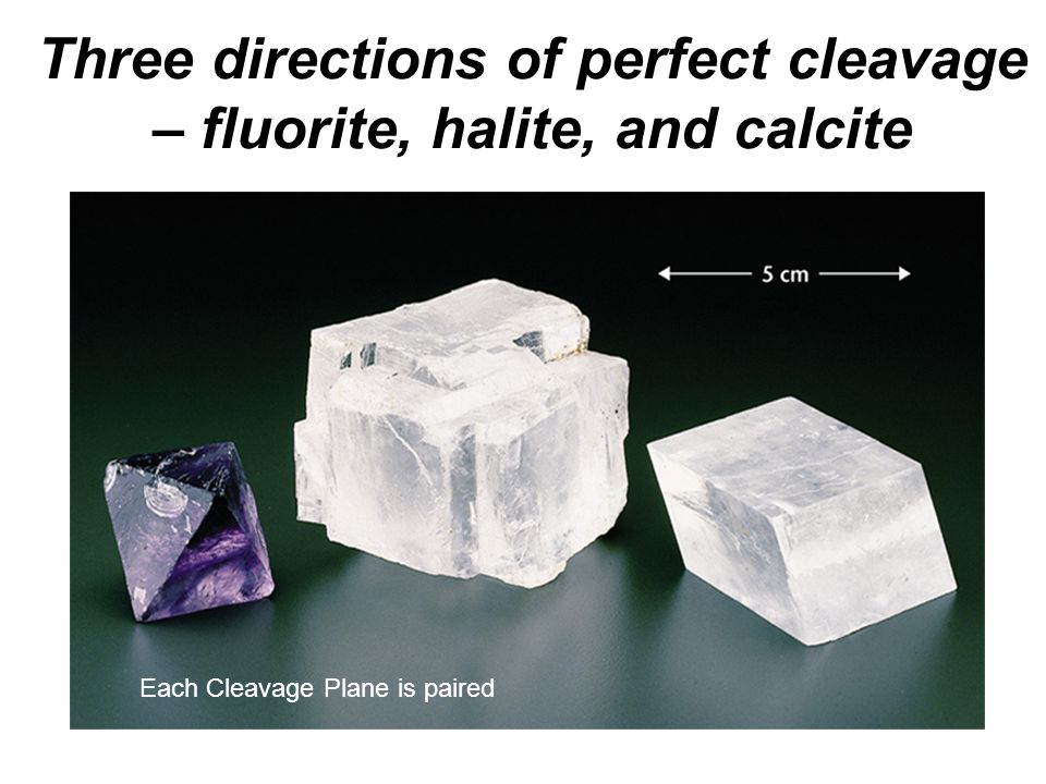 Three directions of perfect cleavage – fluorite, halite, and calcite