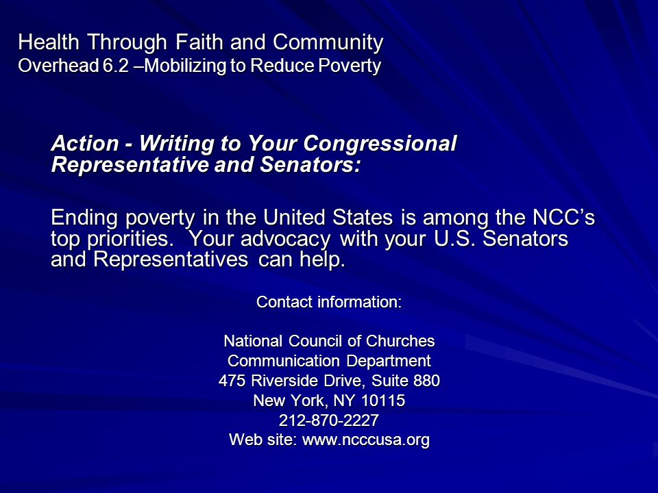 Action - Writing to Your Congressional Representative and Senators: