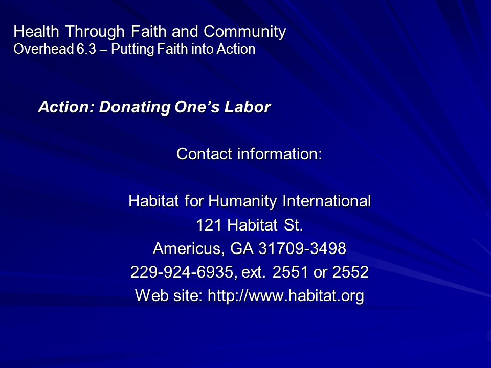 Action: Donating One's Labor