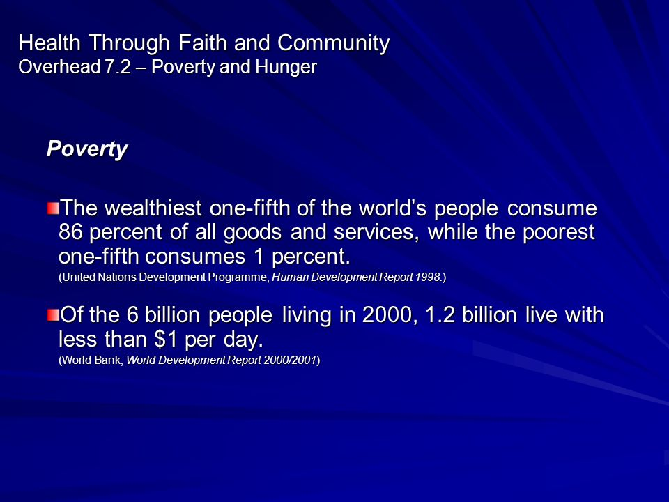 Health Through Faith and Community Overhead 7.2 – Poverty and Hunger