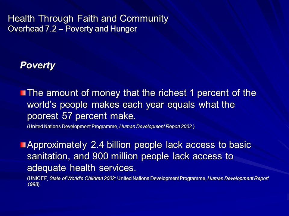 Health Through Faith and Community Overhead 7.2 – Poverty and Hunger