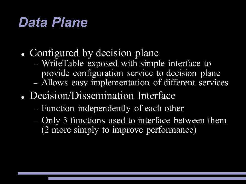 Data Plane Configured by decision plane
