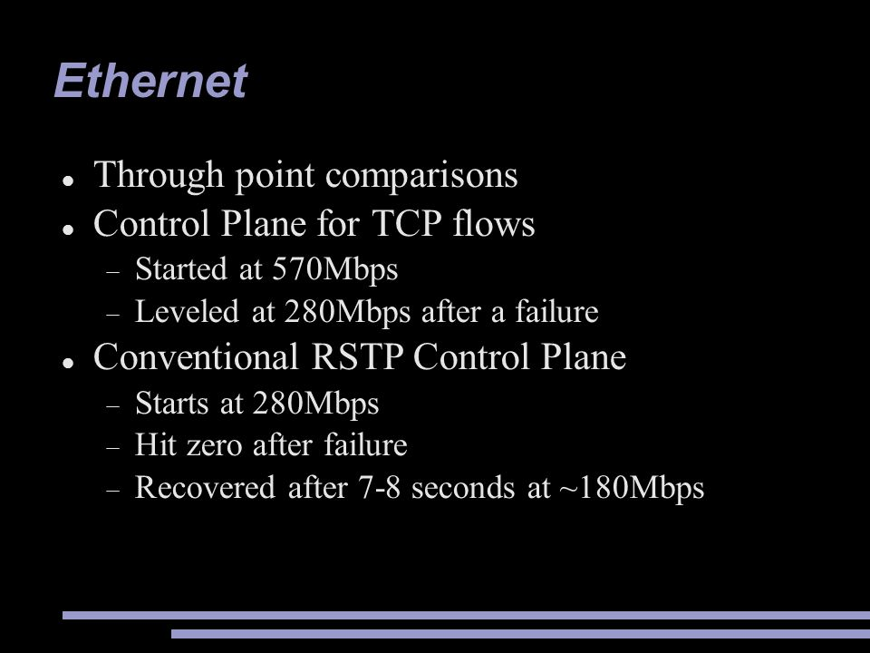 Ethernet Through point comparisons Control Plane for TCP flows