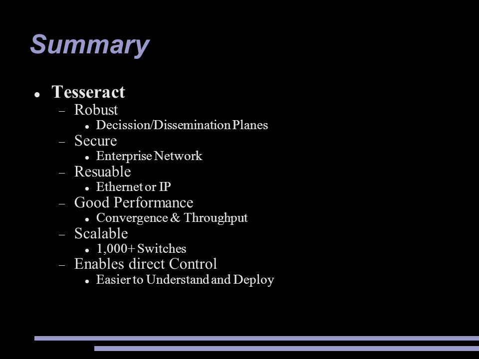 Summary Tesseract Robust Secure Resuable Good Performance Scalable