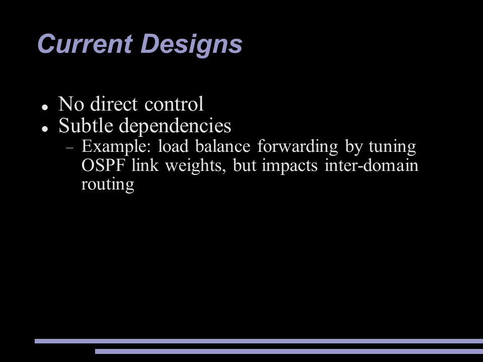 Current Designs No direct control Subtle dependencies