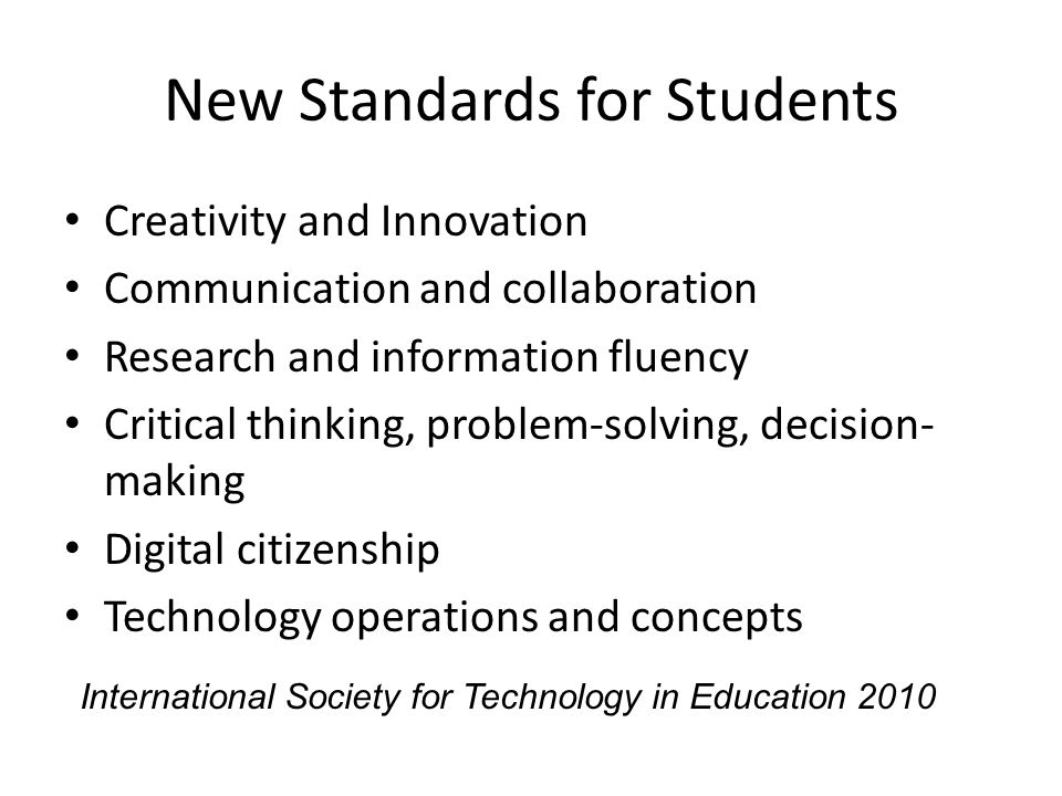 New Standards for Students