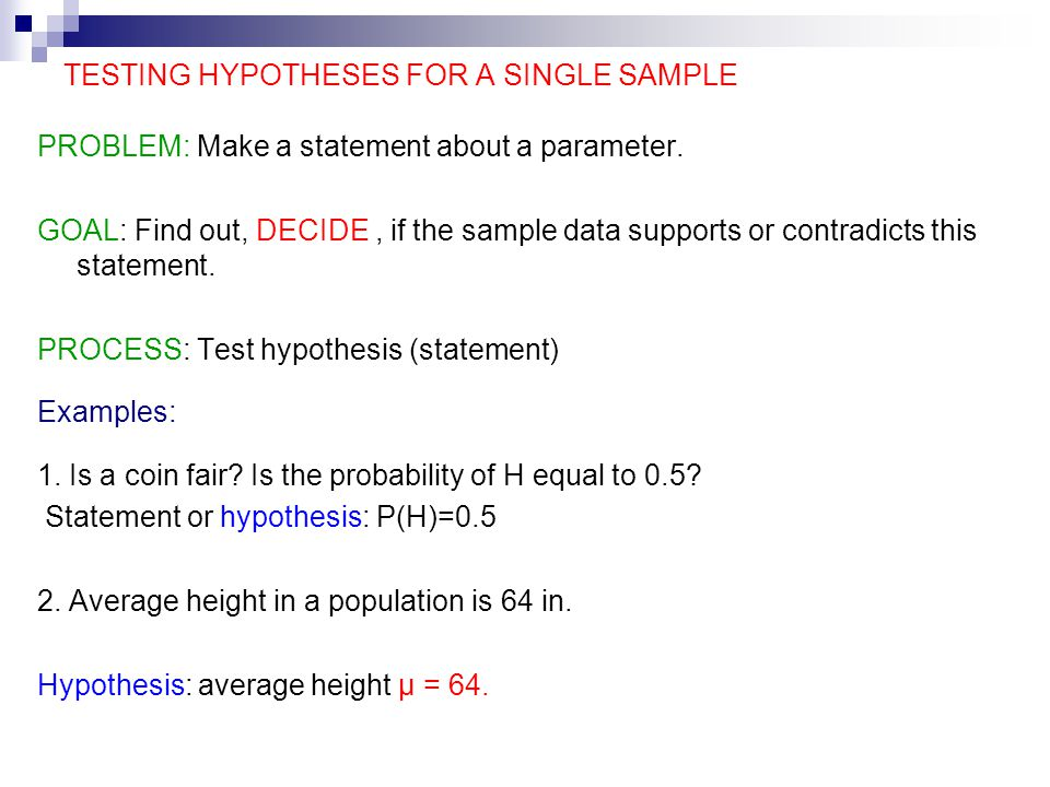 One sample hypothesis testing paper