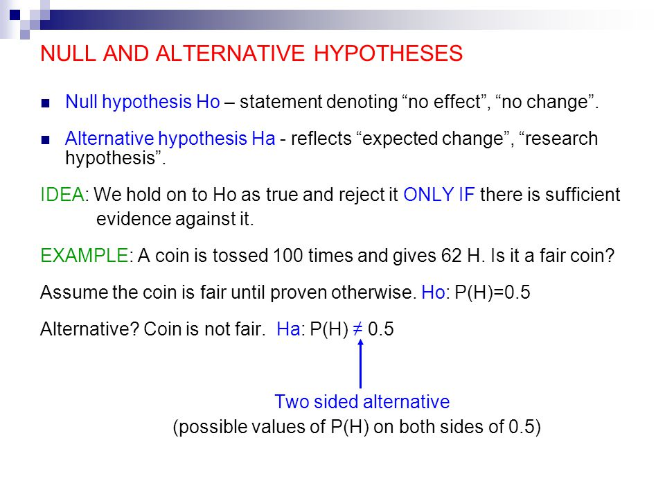 Alternative hypothesis study