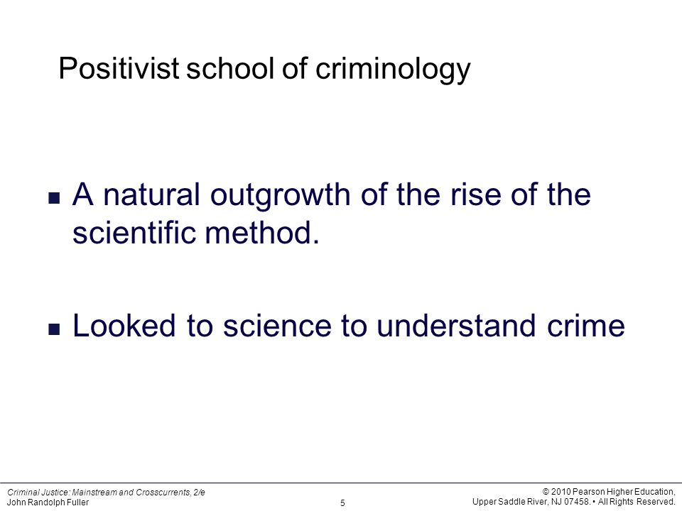 the positivist school of criminology essay Page 2 positivist and classical criminology essay for example, someone might steal or murder to accomplish a self-interested goal the positive school.