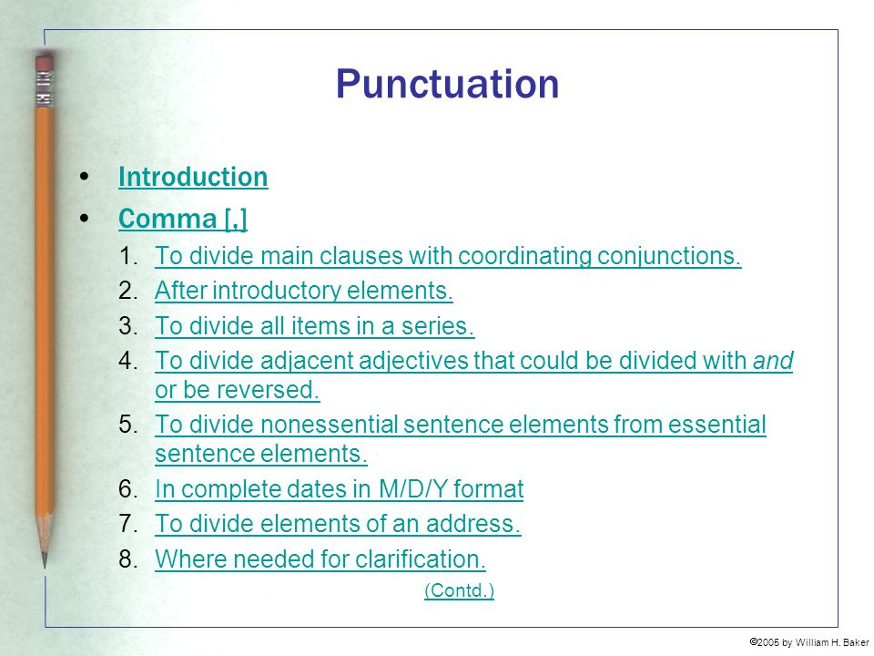 Punctuation Introduction Comma [,]