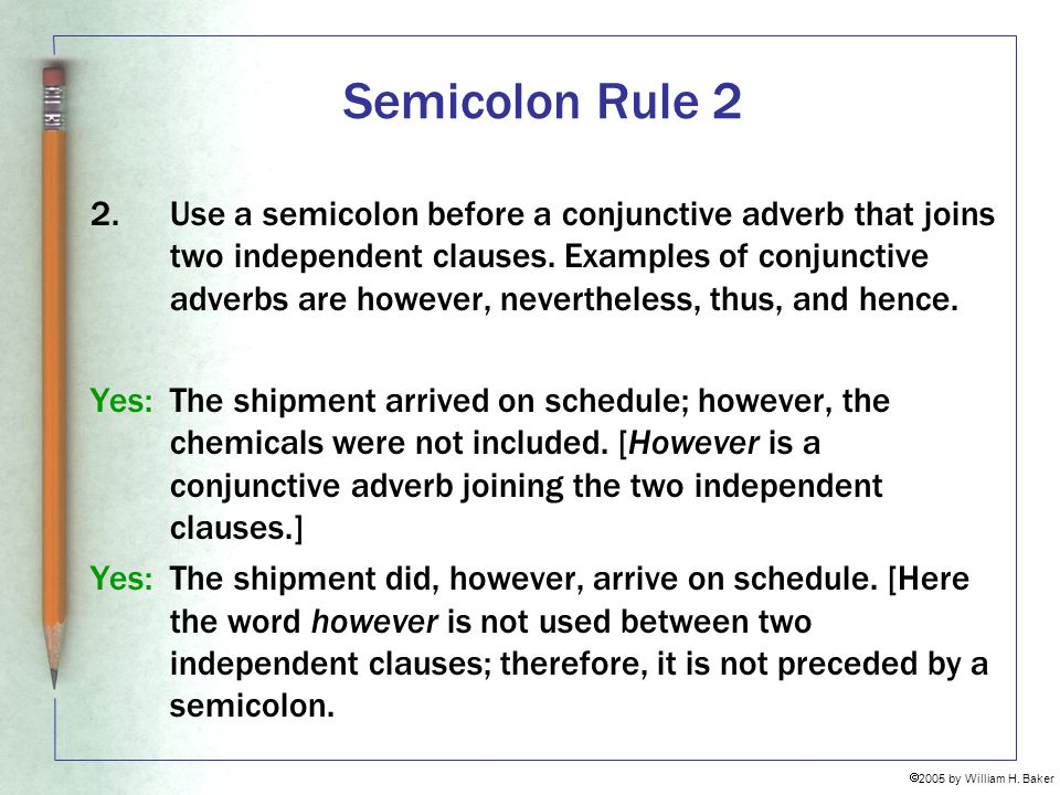 Semicolon Rule 2
