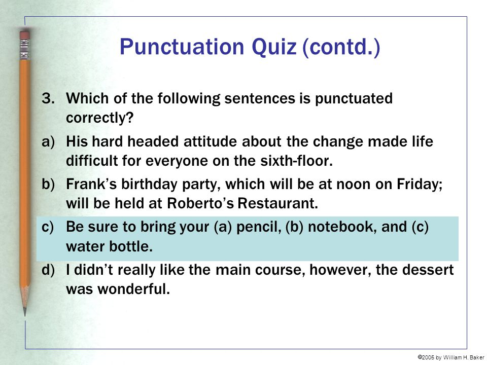 Punctuation Quiz (contd.)