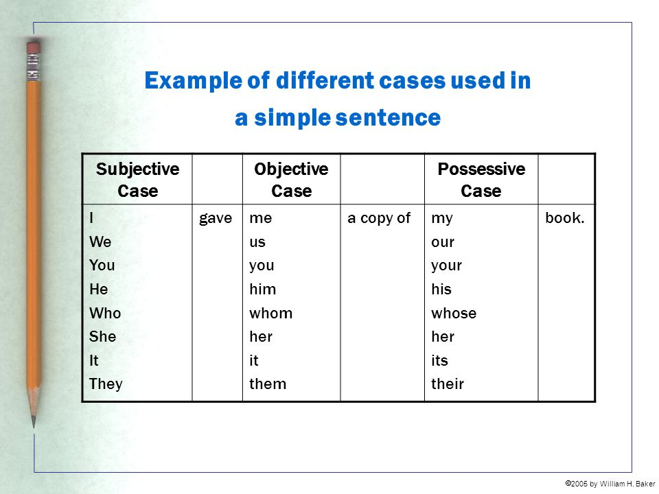Example of different cases used in