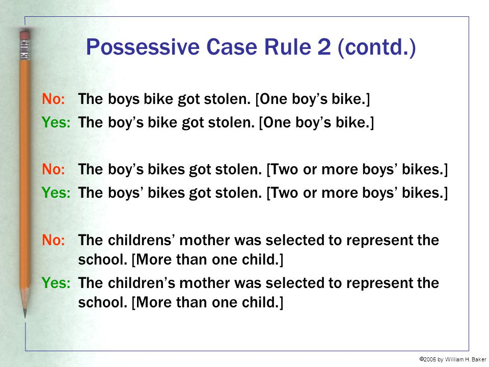 Possessive Case Rule 2 (contd.)