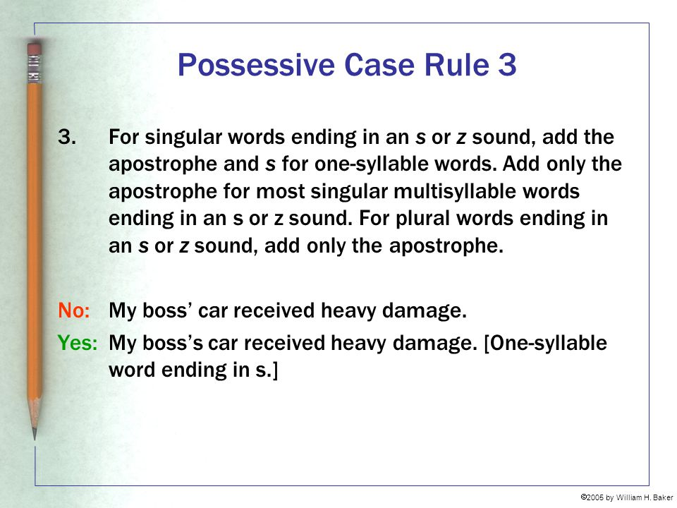 Possessive Case Rule 3