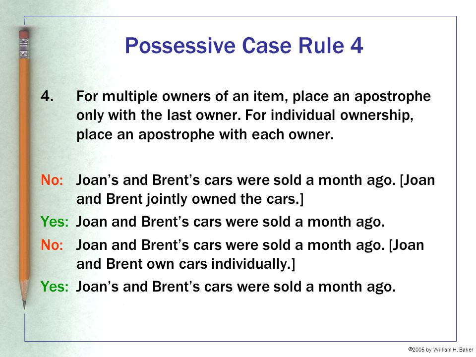 Possessive Case Rule 4