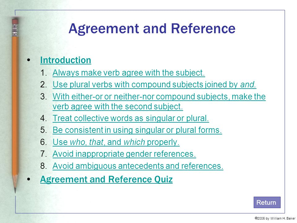 Agreement and Reference
