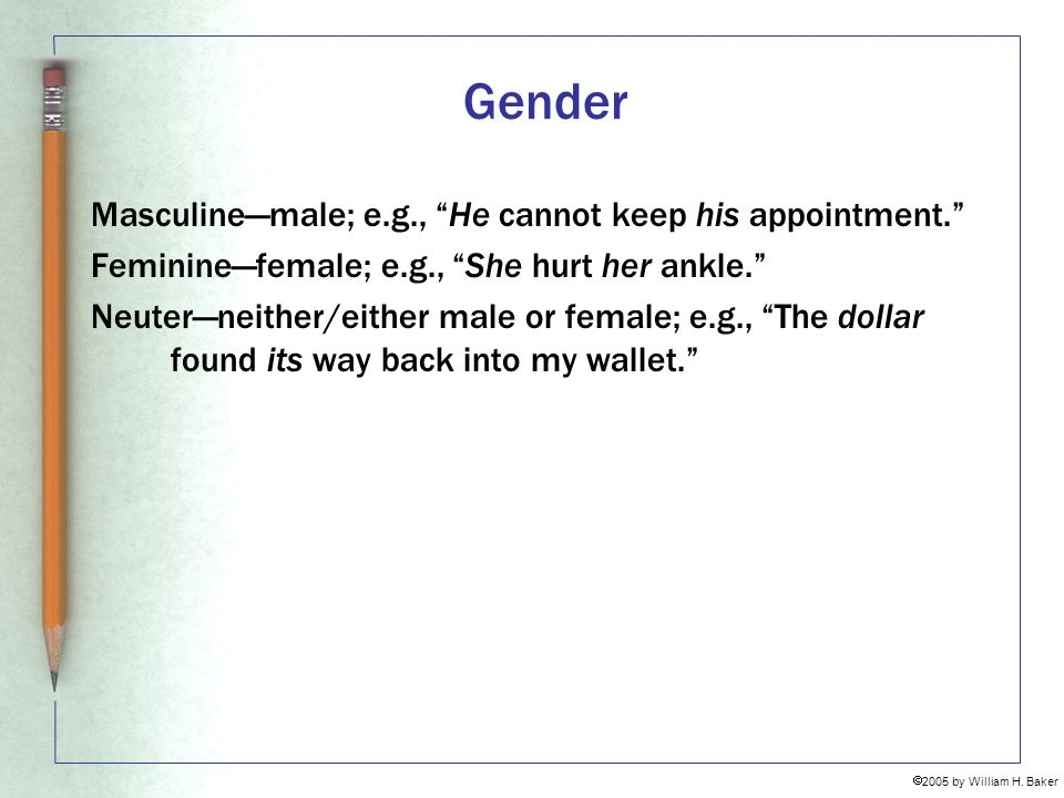 Gender Masculine—male; e.g., He cannot keep his appointment.