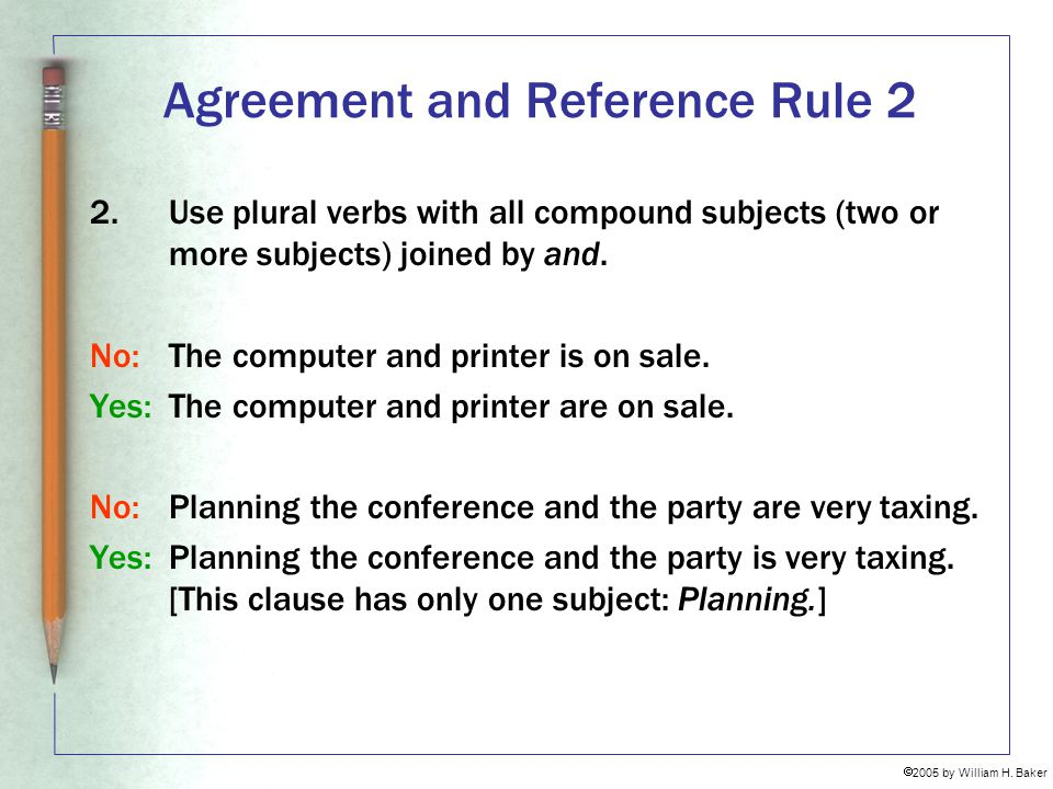 Agreement and Reference Rule 2