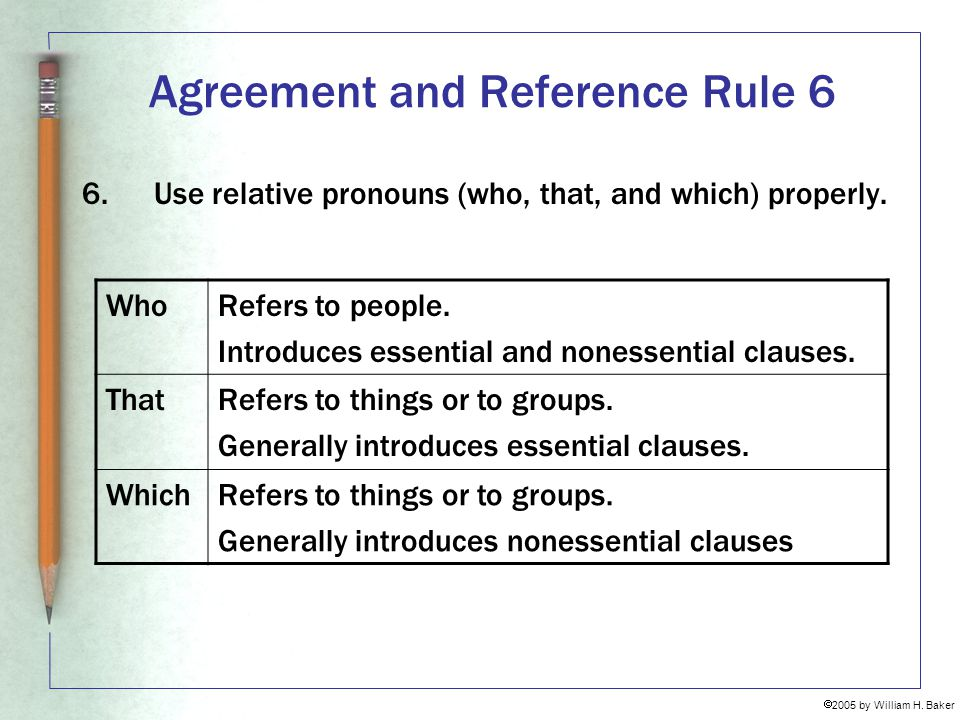 Agreement and Reference Rule 6